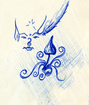 fungous: pen drawing on old paper elf with stars and ornament and psychedelic mushroom. Sketch on paper