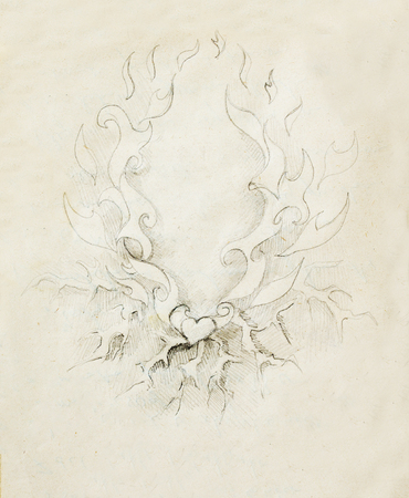 overheated: Beautiful Ornamental pencil drawing on old paper. Heart and fire with flash Stock Photo
