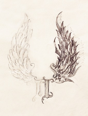engel tattoo: Bleistift auf altem Papier zeichnen. Engelsflügel und Rom Nummer, Gott und Teufel Flügel