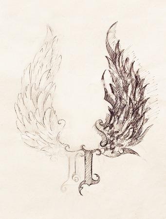 tatouage ange: dessin au crayon sur le vieux papier. ailes d'ange et des ailes rome nombre, Dieu et le diable