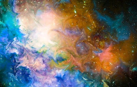 Nebula, Cosmic space and stars, cosmic abstract background and glass effect. Stock Photo