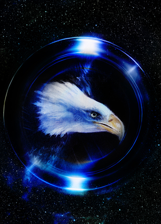 talons: eagle in cosmic space and light circle.