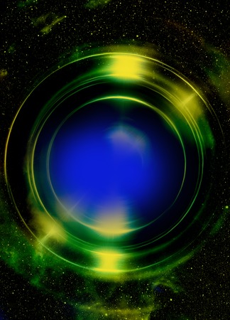 aureole: Color abstract background in cosmos stars and light circle. Copy space
