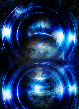 Light circle and cosmic space. Color abstract background and desert crackle Stock Photo