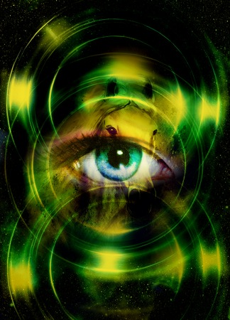 contact details: Woman eye and cosmic space, with light circle