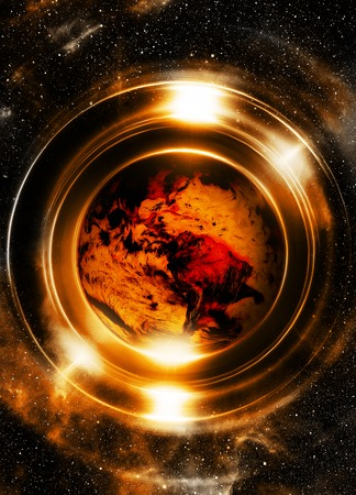 earth from space: Planet earth in light circle, Cosmic Space background.