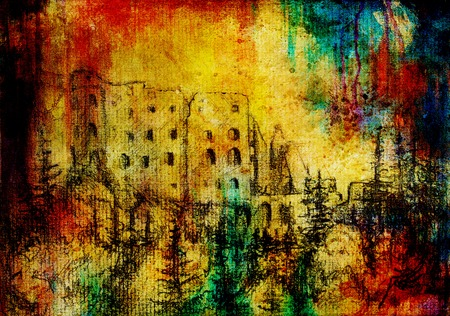 pictorial art: middle castle drawing on old paper and color spots