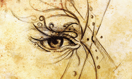 displeased: Woman eye, Hand draw on paper, fashion illustration and color spots