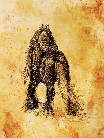 old horse: Draw pencil horse on old paper, And old vintage paper structure Stock Photo