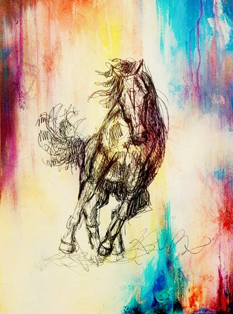 Draw pencil horse on old paper, vintage paper and old structure with color spots Stock Photo