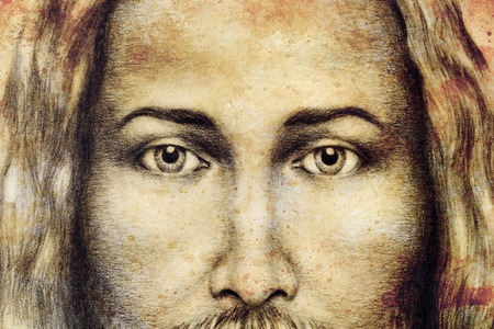 pencils drawing of Jesus on vintage paper. Old sepia structure paper