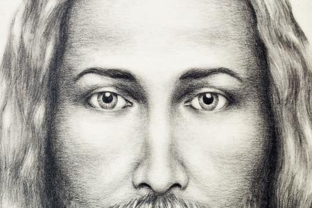 jesus face: pencils drawing of Jesus on vintage paper.