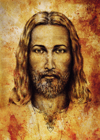 iconography: pencils drawing of Jesus on vintage paper. with ornament on clothing. Old sepia structure paper. Stock Photo