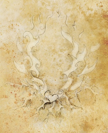 overheated: Beautiful Ornamental pencil drawing on old paper. Heart and fire with flash. Sepia color Stock Photo