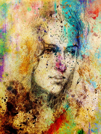 Drawing portrait Young woman with ornament on face, color painting on abstract background, computer collage