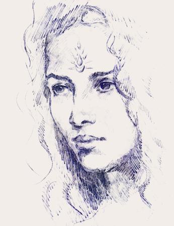 Zeichnung Porträt der jungen Frau mit Ornament auf Gesicht, Farbmalerei auf abstrakten Hintergrund, Computer-Collage Standard-Bild