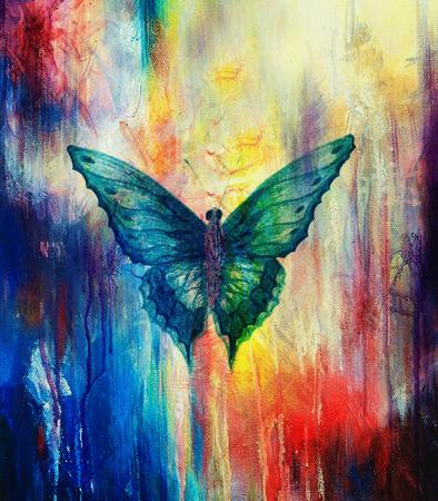 ilustración de una mariposa, medio mixto, color de fondo abstracto Foto de archivo