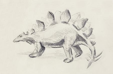 stegosaurus: Stegosaurus pencil drawing on old paper, Original hand draw