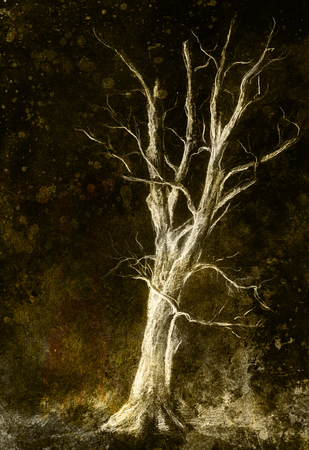 extreme terrain: Painting tree in night landscape and abstract grunge background with spots, original hand draw and computer collage Stock Photo