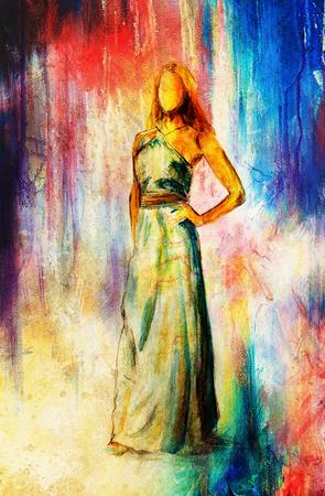 mystical woman: sketch of mystical woman  in beautiful ornamental dress
