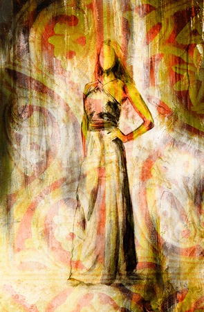 ethnology: sketch of mystical woman and beautiful ornamental background