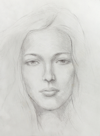 ethnology: Drawing portrait Young woman on old paper background.