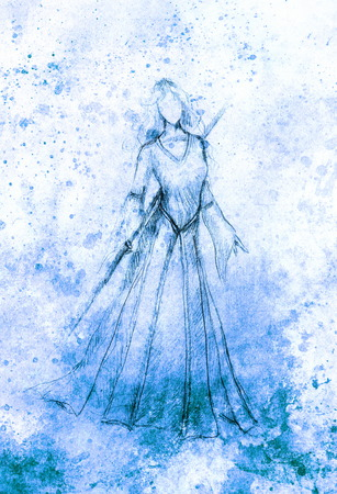 mystical woman: sketch of mystical woman and stick in beautiful ornamental dress