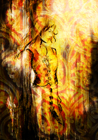 mystical woman: sketch of mystical woman  in beautiful ornamental dress  inspired by middle age design Stock Photo