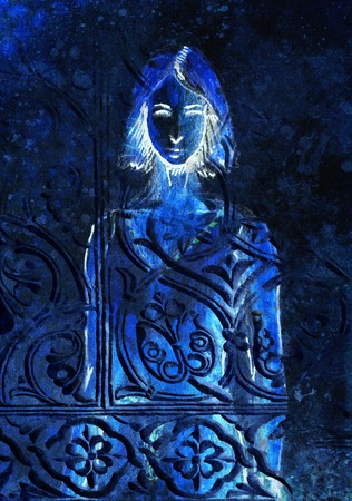 mystical woman: sketch of mystical woman and beautiful ornamental background.  invert effect