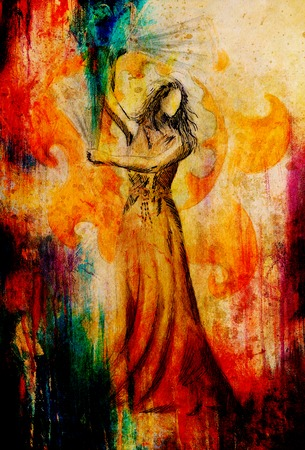 sexy young girls: Эскиз восточной танцовщицы и ручной вентилятор. И красивый декоративный фон