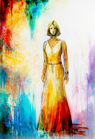 woman middle age: sketch of mystical woman  in beautiful ornamental dress  inspired by middle age design Stock Photo