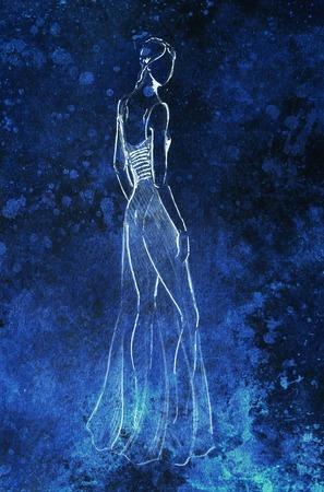 standing figure: Standing figure woman, pencil sketch on paper. Black backgroun Stock Photo