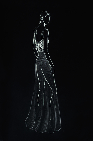 standing figure: Standing figure woman, pencil sketch on paper. Black background