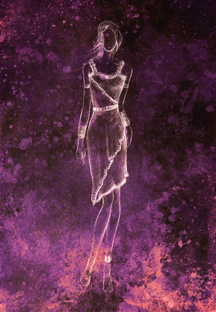 standing figure: Standing figure woman, pencil sketch on paper. Abstract background Stock Photo