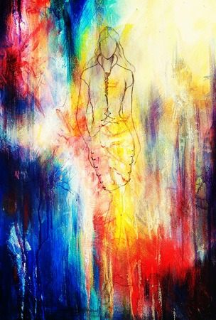 standing figure: Standing figure woman, pencil sketch on paper. Watercolor background Stock Photo