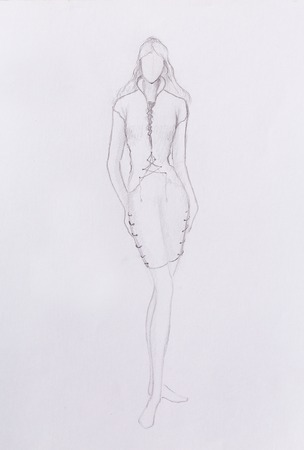 standing figure: Standing figure woman, pencil sketch on paper