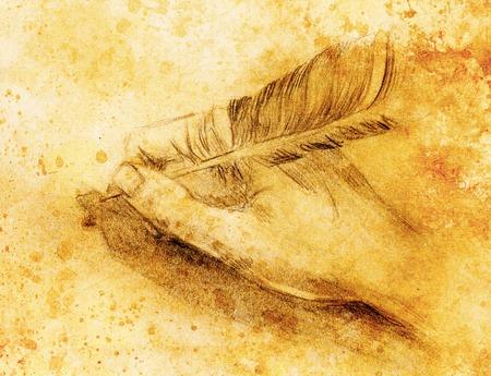 main tenir un stylo plume d'oie sur la lettre et l'enveloppe, croquis au crayon sur papier, sépia et effet vintage