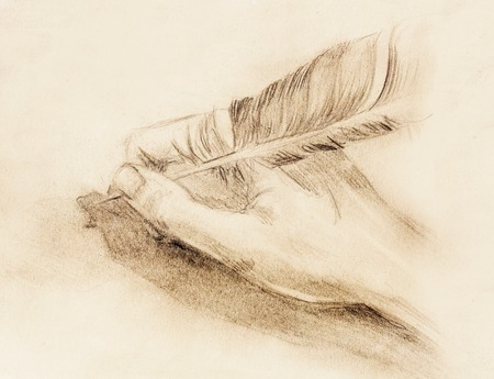 hand pen: hand hold a feather quill pen on the letter and envelope, pencil sketch on paper, vintage effect