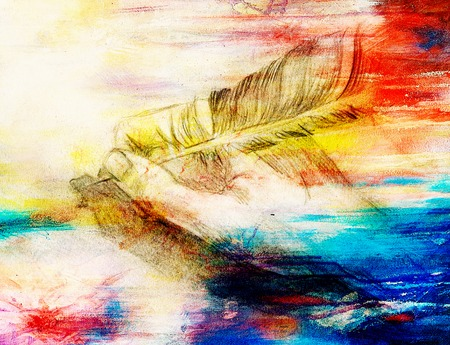 feather quill: hand hold a feather quill pen on the letter and envelope, pencil sketch on paper