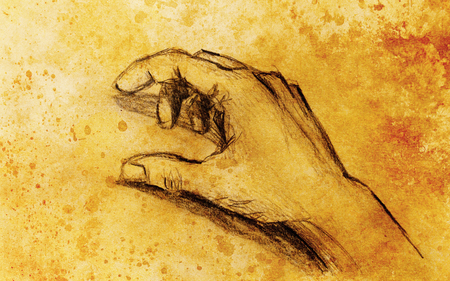 hand pencil: Drawing hand, pencil sketch on paper, sepia and vintage effect