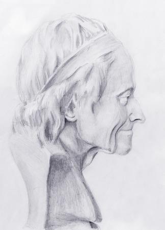 old man portrait: Hand drawn head, Illustration half face. Gypsum bust drawn in pencil. Profile portrait