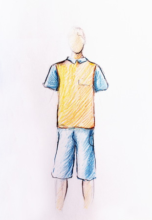 fashion: drawing male clothes, color pencil sketch on paper