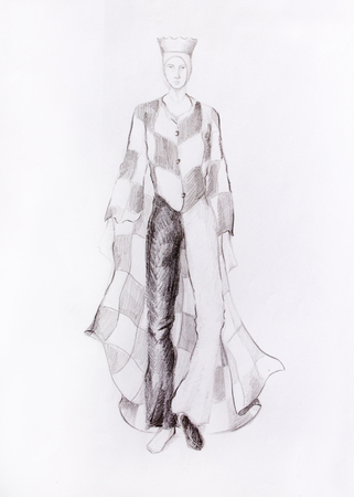 king s: Drawing male fashion clothes with a checkerboard pattern, chess king, color pencil sketch on paper