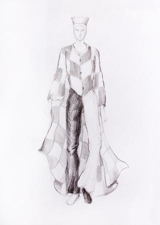 gronostaj: Rysunek męskiej mody ubrania szachownicę, szachy król, farbują ołówek szkic na papierze Zdjęcie Seryjne