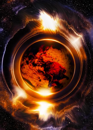 abstract fire: Planet earth in light circle, Cosmic Space background. Fire effect. Computer collage. Earth concept. Elements of this image furnished by NASA
