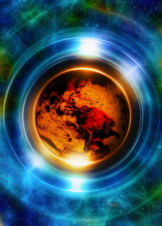 earth from space: Planet earth in light circle, Cosmic Space background. Computer collage. Earth concept. Elements of this image furnished by NASA