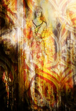 mystical woman: sketch of mystical woman and beautiful ornamental background
