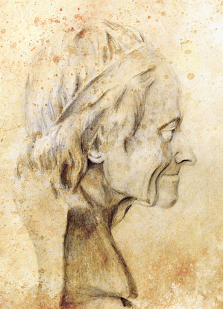 bust: Hand drawn head, Illustration half face. Gypsum bust drawn in pencil. Profile portrait