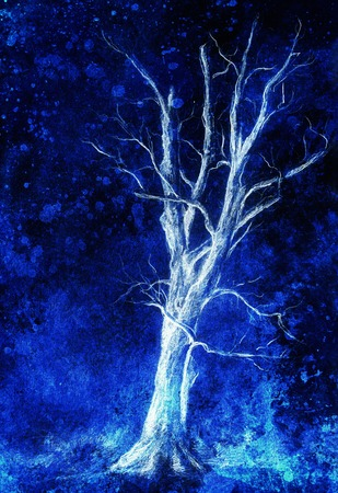 uncultivated: Painting tree in night landscape and abstract grunge background with spots, original hand draw and computer collage Stock Photo