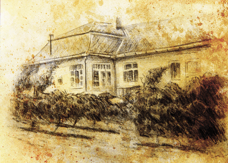 garten: pencil drawning of a house with wine garten in the front. color painting background. computer collage